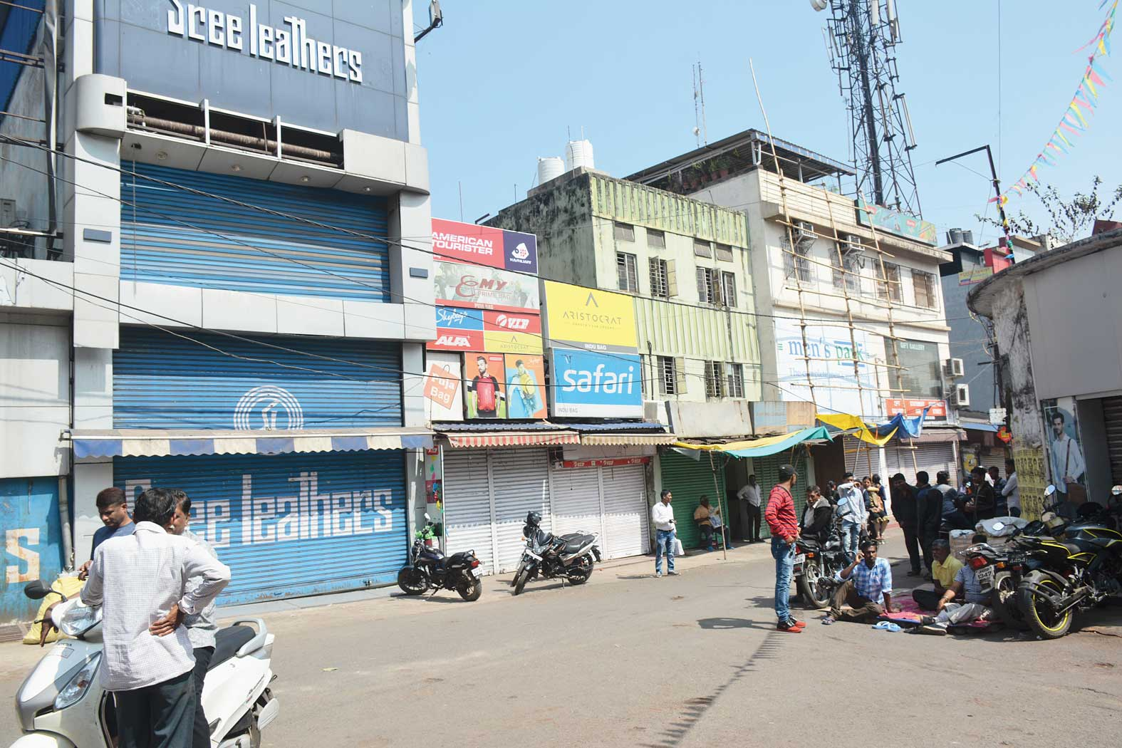 Closed shops in Sakchi, Jamshedpur, on Monday morning.