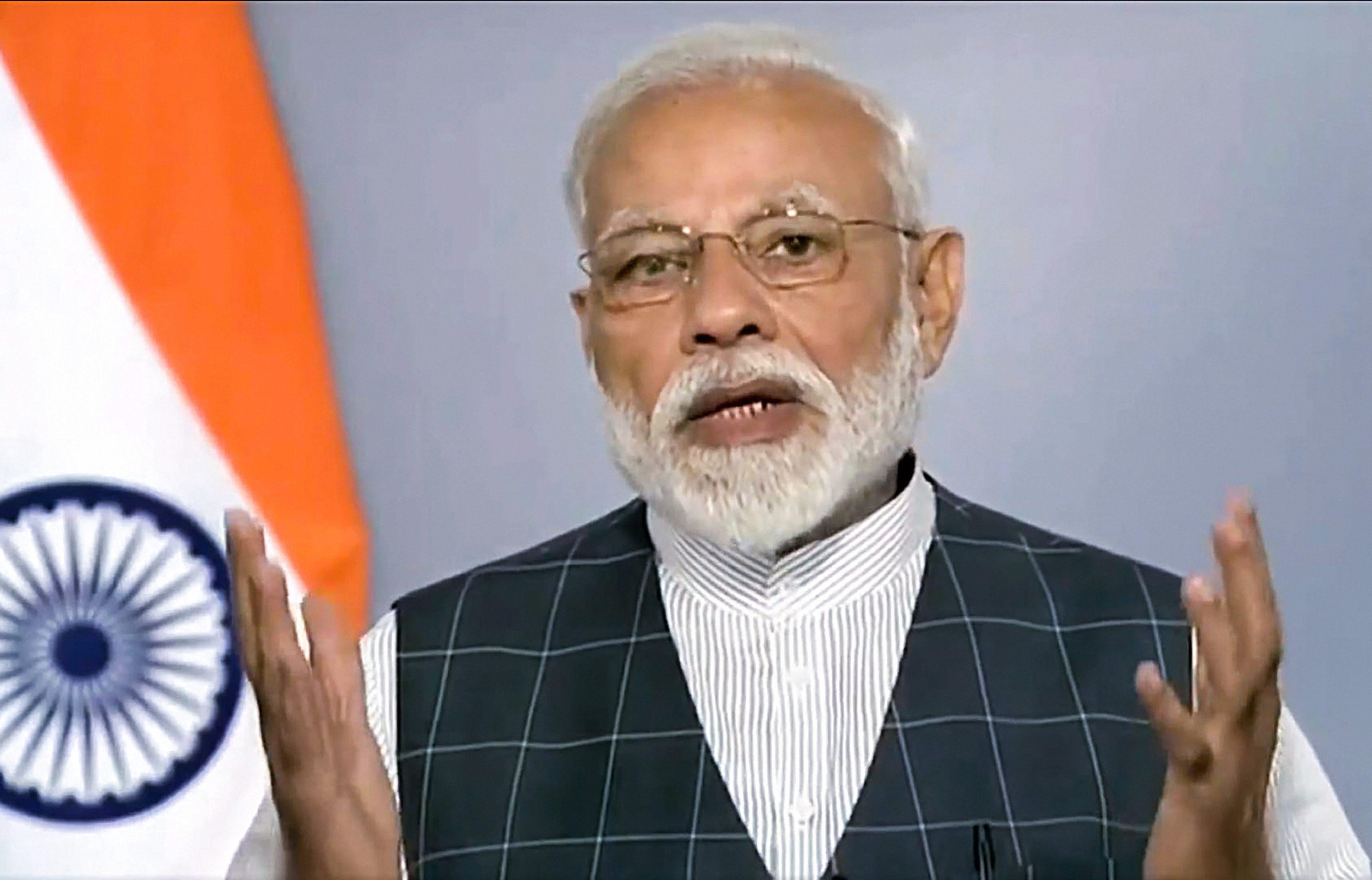 Prime Minister Narendra Modi announces the success of Mission Shakti, India's anti-satellite missile capability programme, in New Delhi on Wednesday.