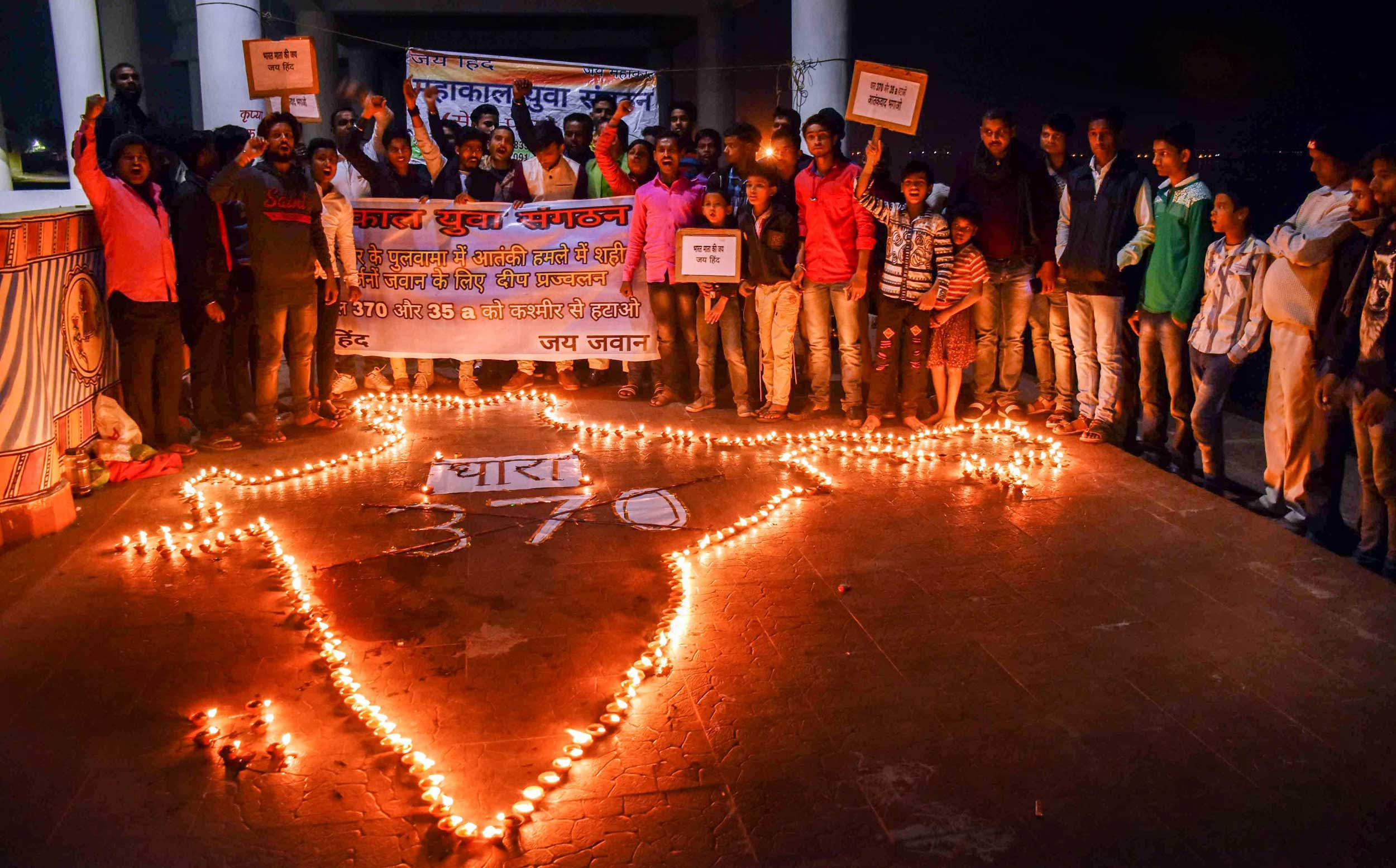 A candle light vigil in Patna on Monday to pay tribute to the CRPF jawans killed in the Pulwama terror attack