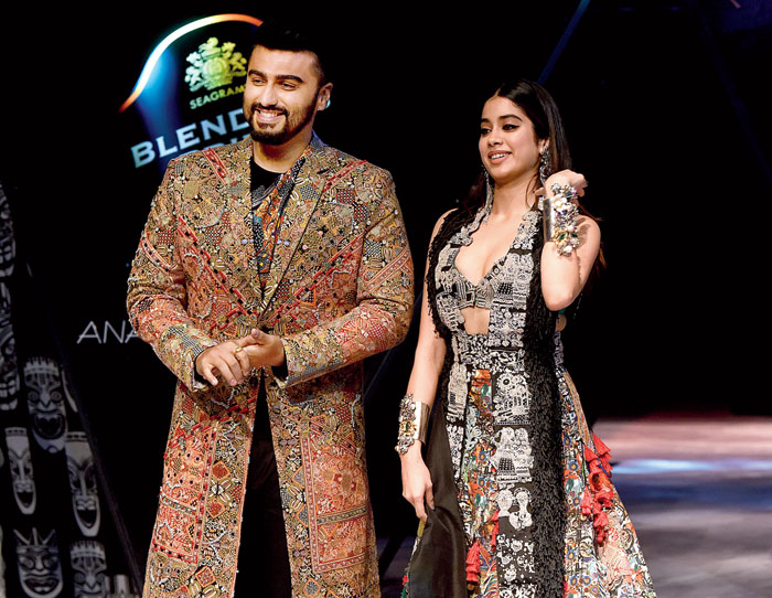 Arjun Kapoor and Janhvi Kapoor in Anamika Khanna at Blenders Pride Fashion Tour at RCGC last month