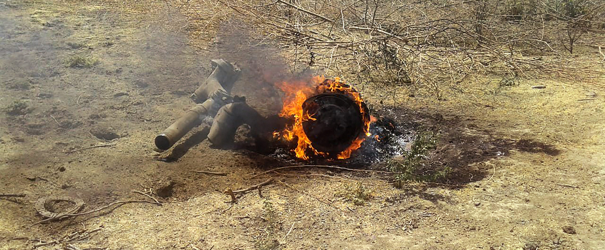 Remains of the fighter plane MiG 27 which crashed at Sirohi near Jodhpur in Rajasthan on Sunday, March 31, 2019.