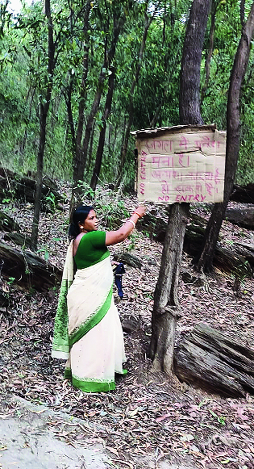 Jamuna Tudu points to a poster at Laubera jungles in Chakulia on Wednesday.