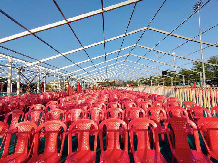 Rows of chairs meant for guests.