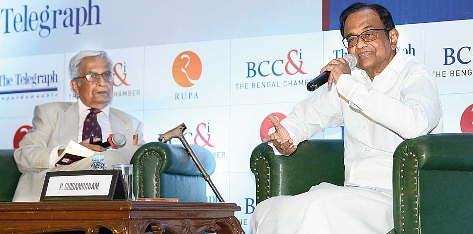 Chidambaram and Sunanda K Datta-Ray (right) during the discussion in Calcutta on Thursday.