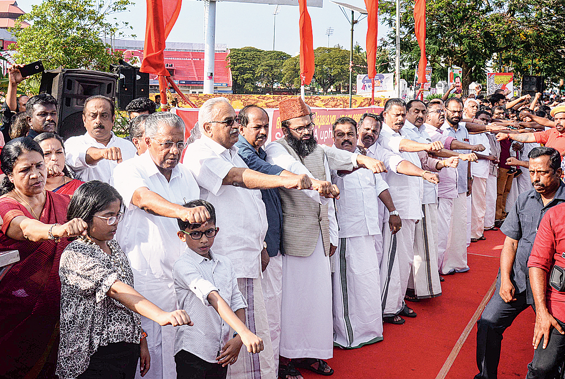 Kerala chief minister Pinarayi Vijayan in Thiruvananthapuram, participating in a state-wide human chain formed in protest against the new citizenship regime on Sunday.