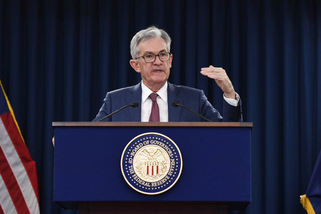 Federal Reserve chairman Jerome Powell speaks during a news conference in Washington, Wednesday, October 30, 2019