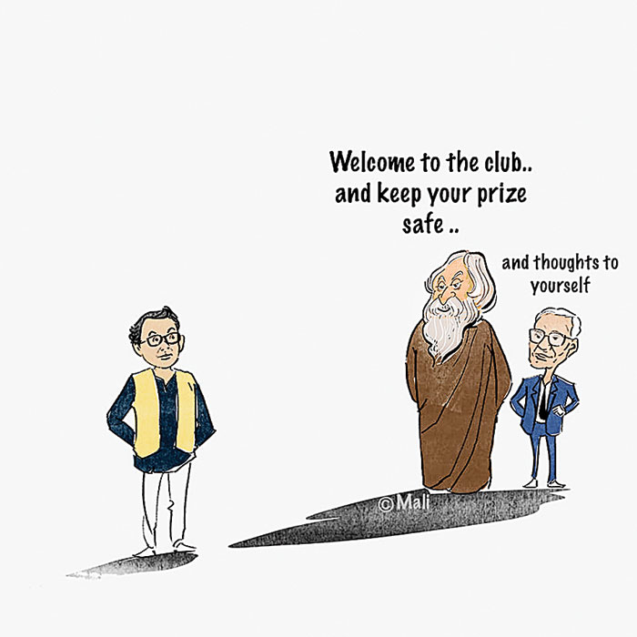 "In the meme, Rabindranath Tagore and Amartya Sen welcome Banerjee to the Nobel club with sage advice: ""Keep your prize safe… and thoughts to yourself"". Tagore offers the undeclared reminder of the medal theft from Santiniketan while the more contemporary coup de grace is delivered by Sen."