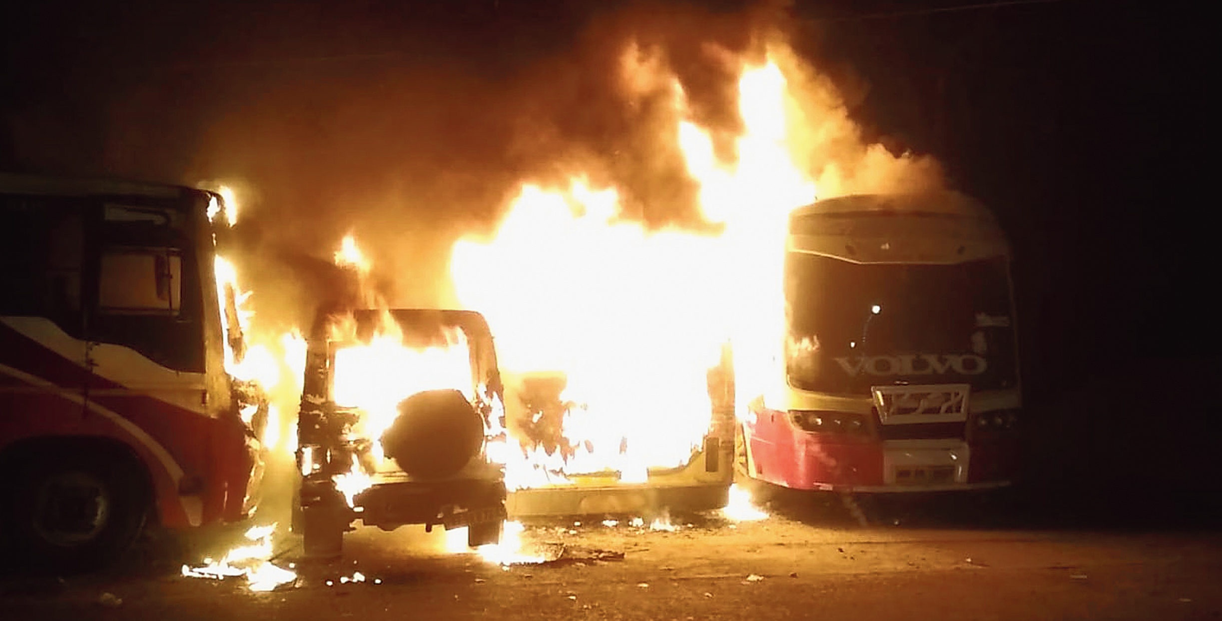 Vehicles parked in a lane in Narayantala off VIP Road up in flames early on Sunday.