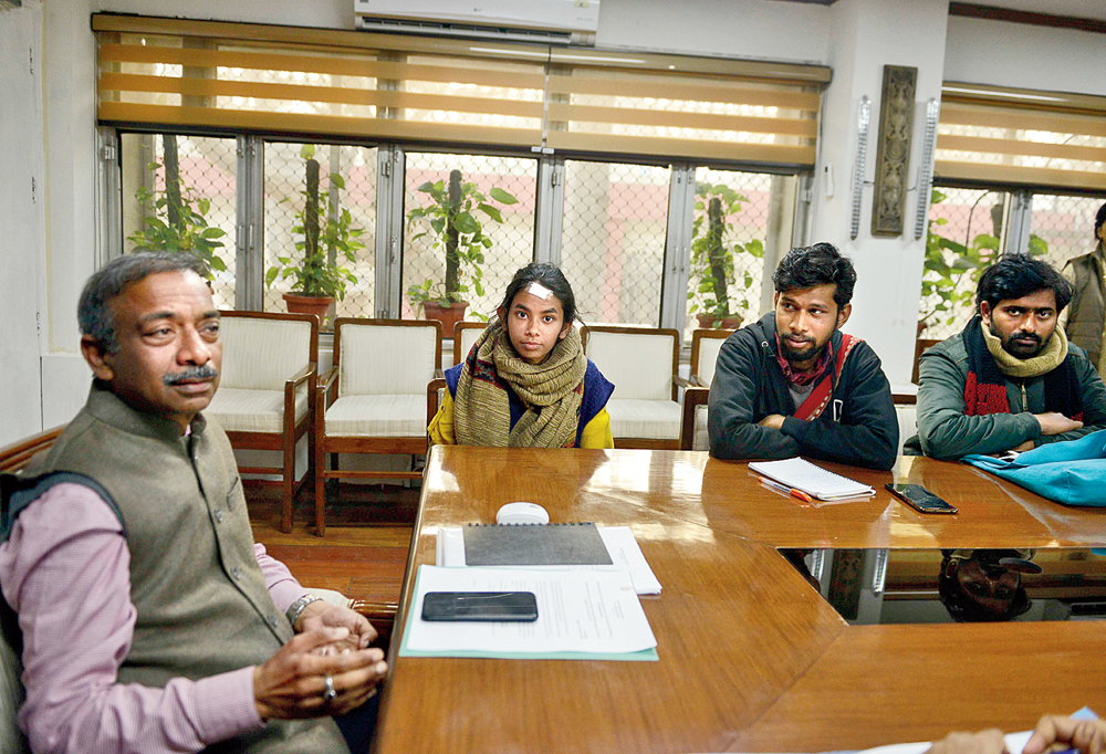 HRD secretary Amit Khare at the meeting with JNUSU president Aishe Ghosh and other JNU students at the HRD ministry in New Delhi on Friday