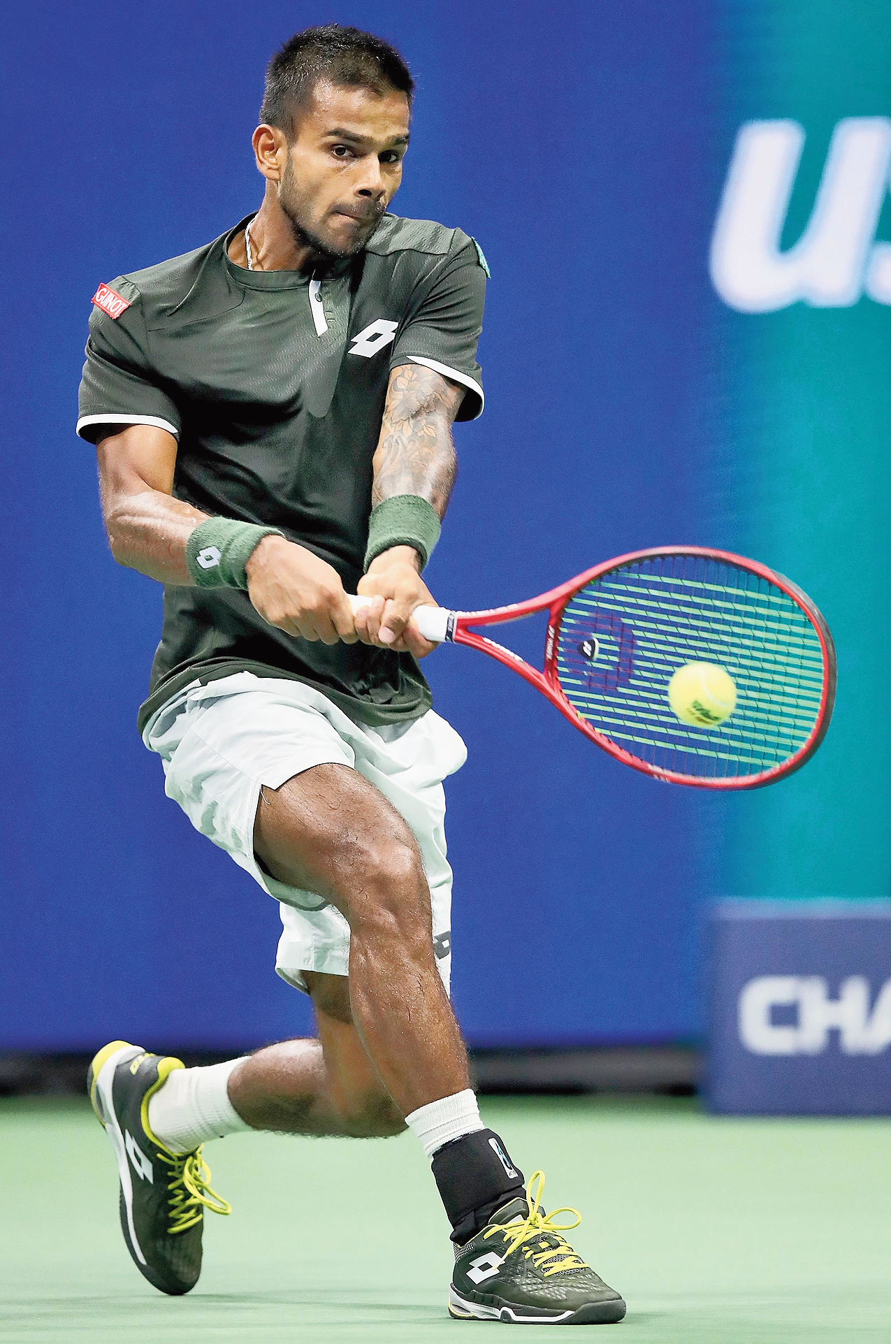 Sumit Nagal during his match against Roger Federer