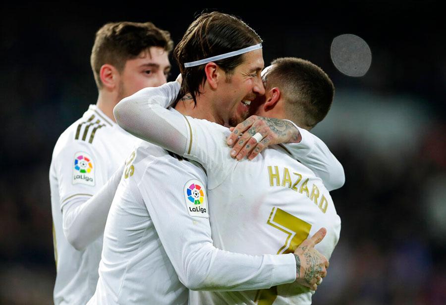Real Madrid's Sergio Ramos celebrates with Eden Hazard scoring his side's 2nd goal during the Spanish La Liga football match between Real Madrid and Celta de Vigo