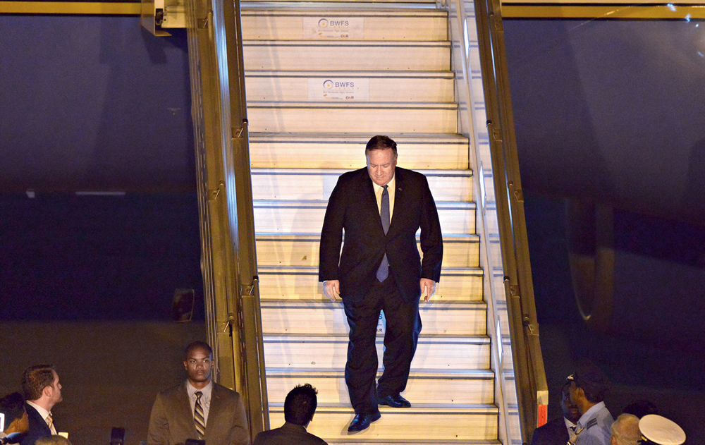 Pompeo arrives in New Delhi on Tuesday