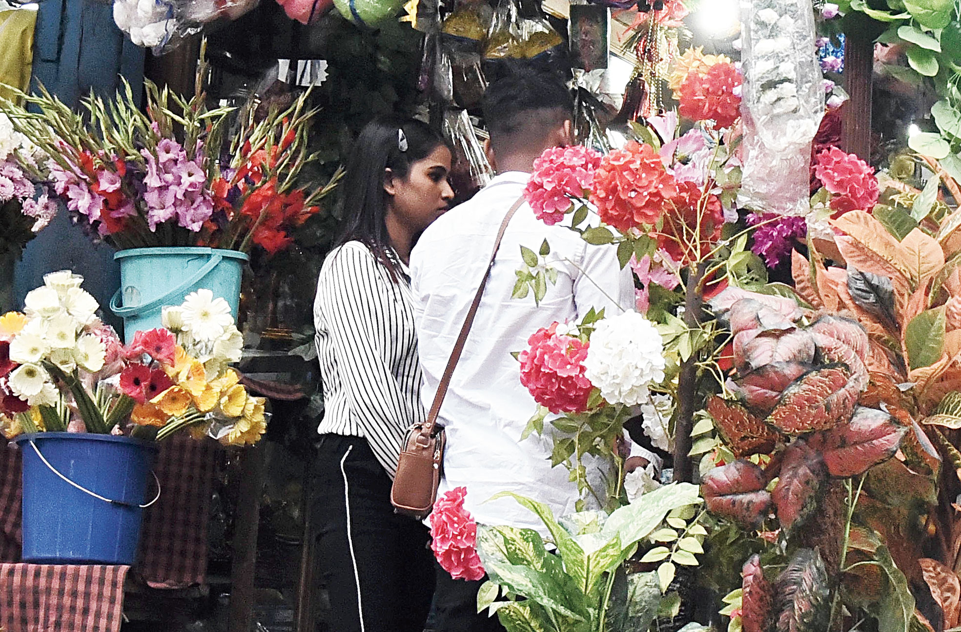 A couple at a flower shop in Guwahati on Friday