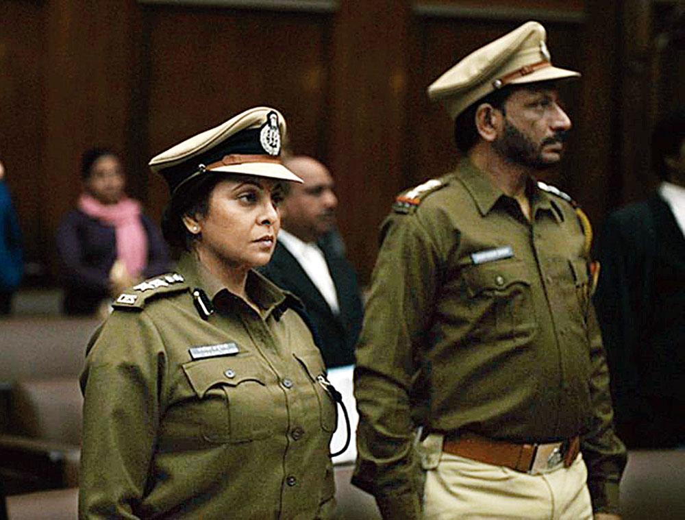 Shefali Shah as top cop Vartika Chaturvedi with Rajesh Tailang, who plays Bhupendra