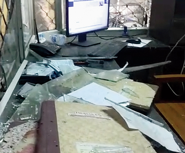 The ransacked room.