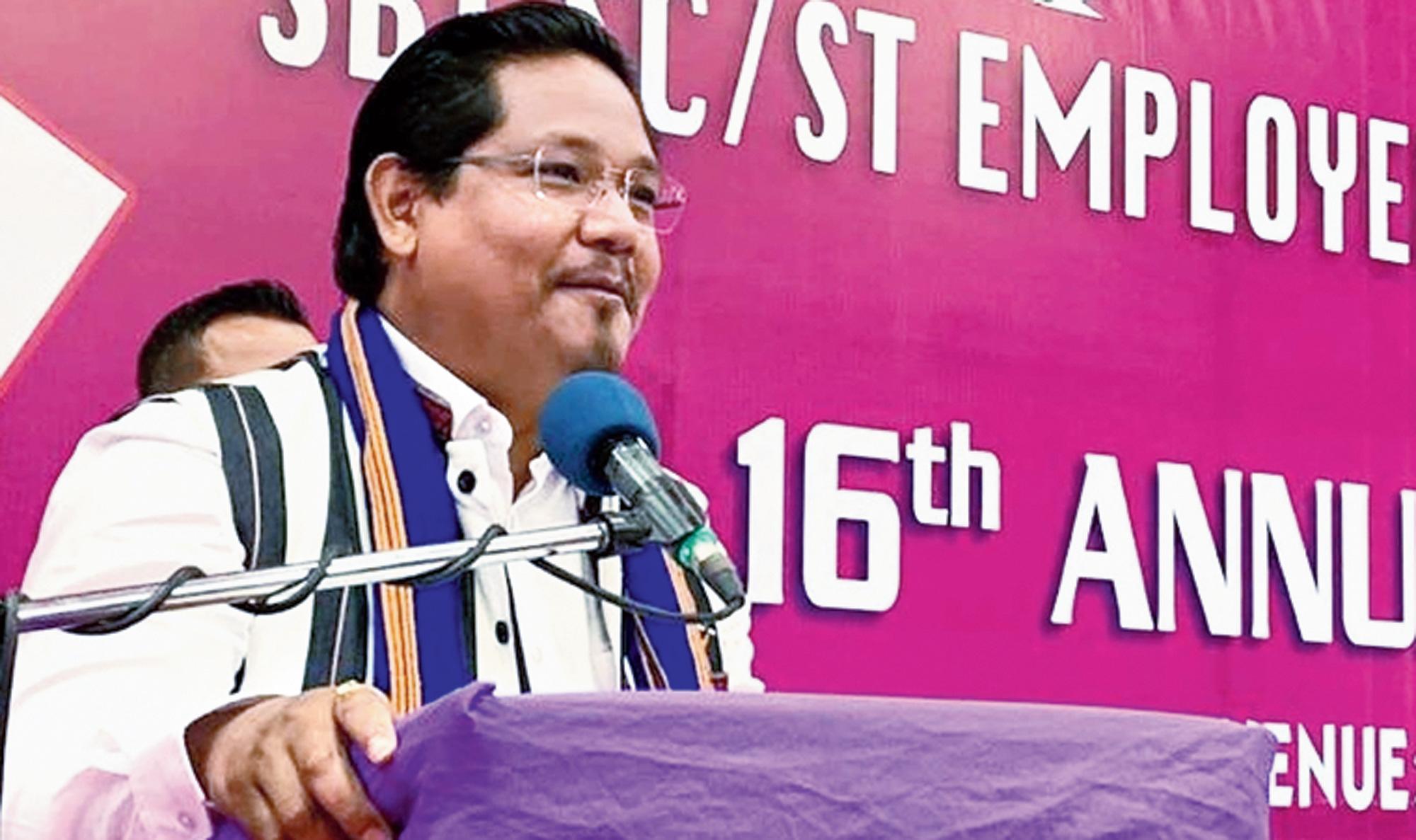 Conrad K. Sangma at a function in Shillong on Saturday.