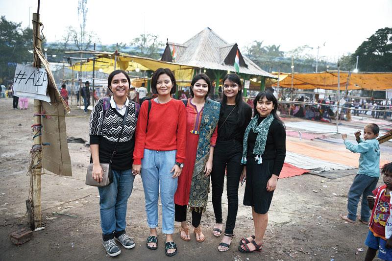 (From left) Srijoni Das, Sharon Lepcha, Nazreen Fatima, Sneha Bardhan and Nikita Biswakarma at Park Circus Maidan on Thursday evening.