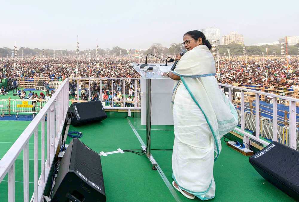 West Bengal Chief Minister Mamata Banerjee speaks during TMC mega rally 'Brigade Samavesh', in Calcutta on Saturday, Jan 19, 2019.