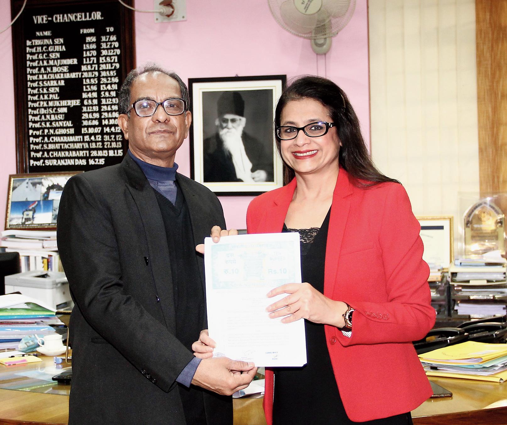 Vice-Chancellor Suranjan Das and Minu Budhia on Friday.