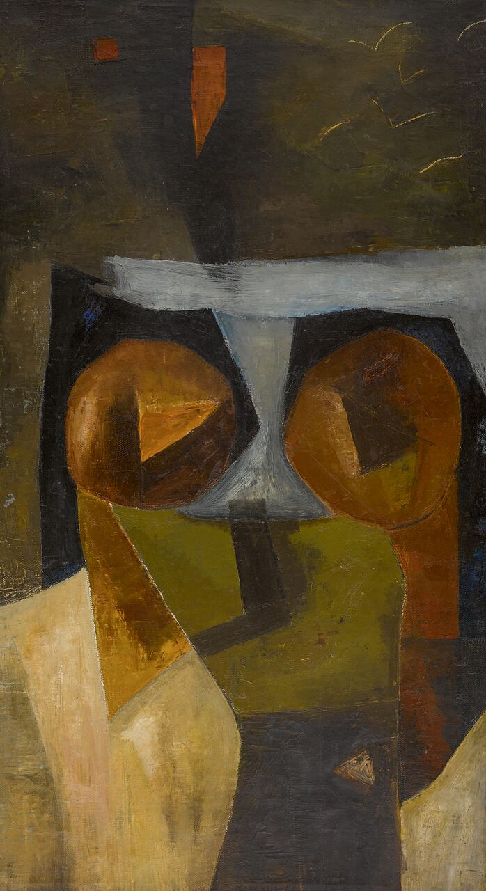 Two Figures, oil on canvas by Ram Kumar. Estimate: $70,000-90,000