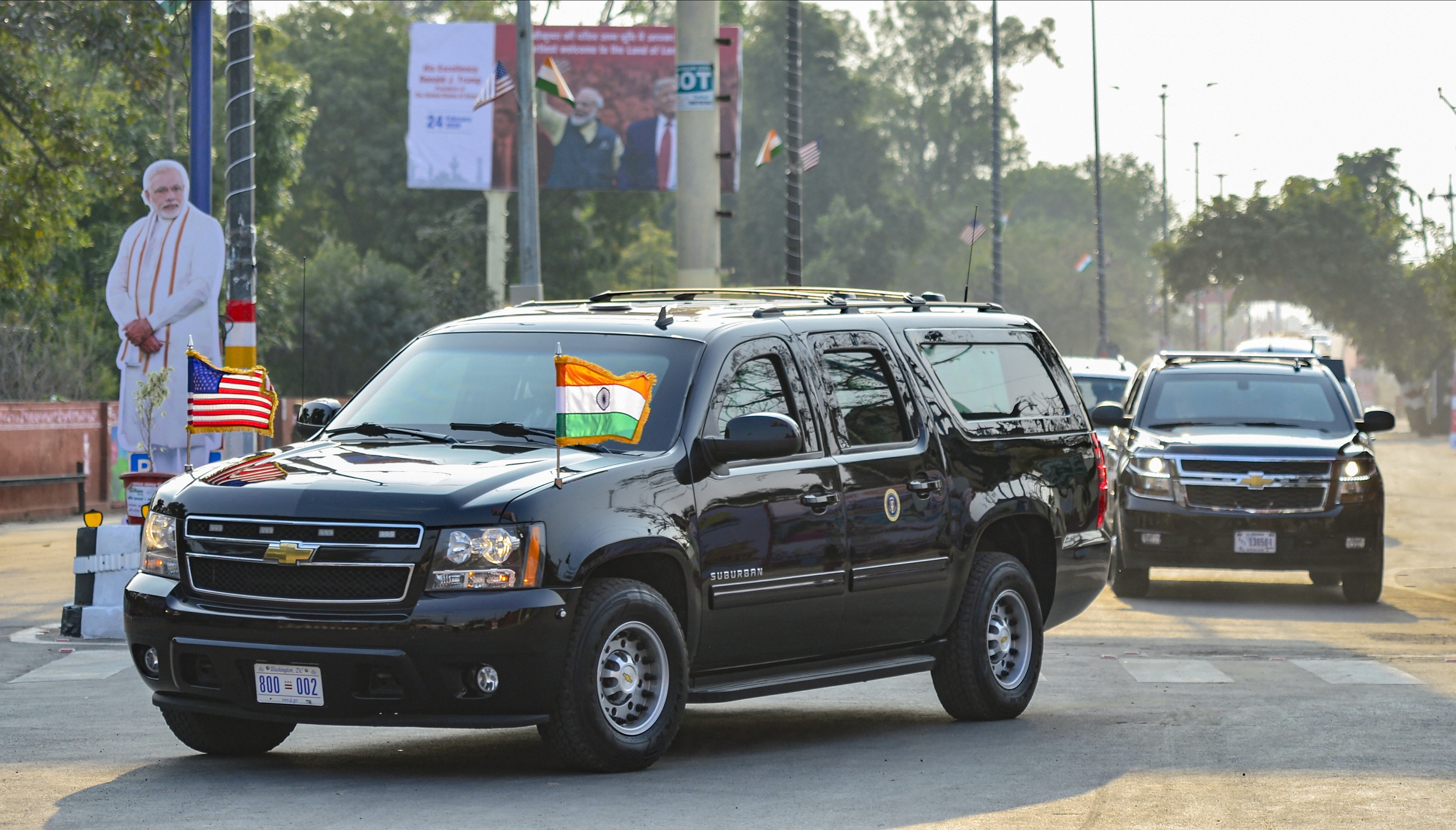 Motorcade of the U.S. President Donald Trump arrives in Agra, Monday, February 24, 2020