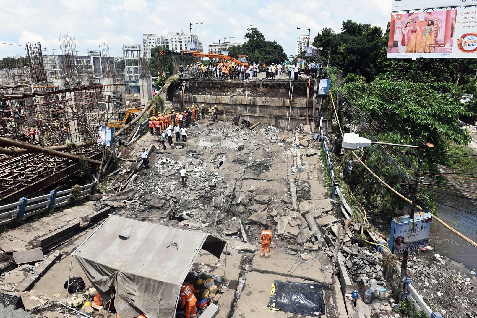 The collapsed Majerhat bridge.