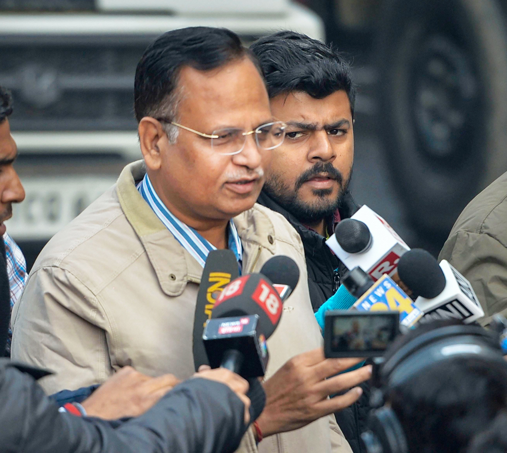 Delhi Health Minister Satyendra Jain speaks to the media after visiting the site of the factory at Rani Jhansi Road in New Delhi, Sunday, December 8, 2019.