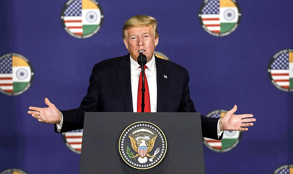 US President Donald Trump at a press meet in New Delhi on Tuesday.