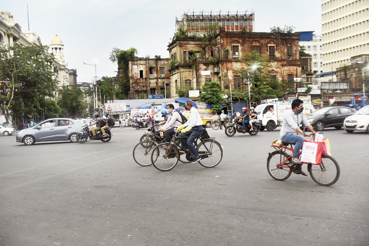 Cyclists at Esplanade in Calcutta on Monday.