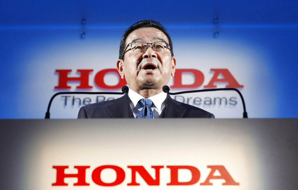Honda's president and CEO Takahiro Hachigo speaks during a press conference in Tokyo on Tuesday.