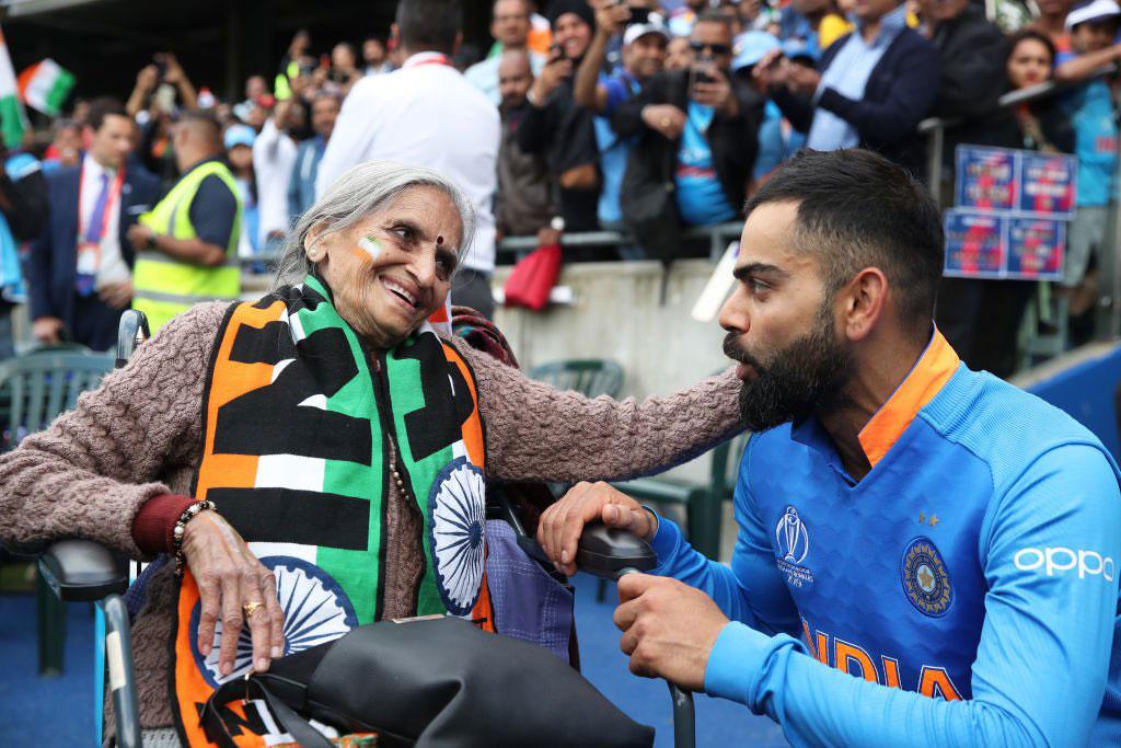 Virat Kohli with 87-year-old Charulata Patel.