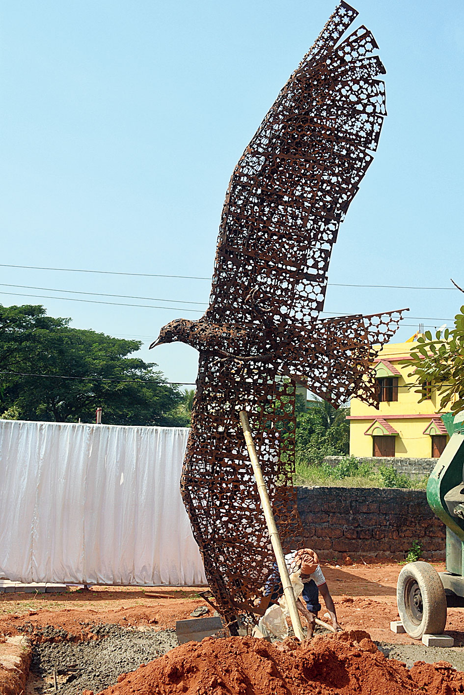 An art installation by a foreign sculptor in Bhubaneswar.
