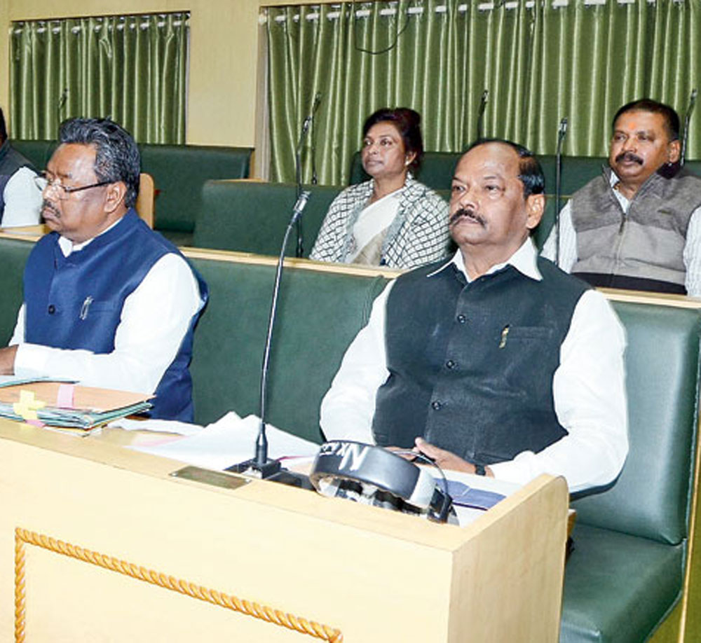 Chief Minister Raghubar Das and his cabinet colleagues in Assembly on Monday.