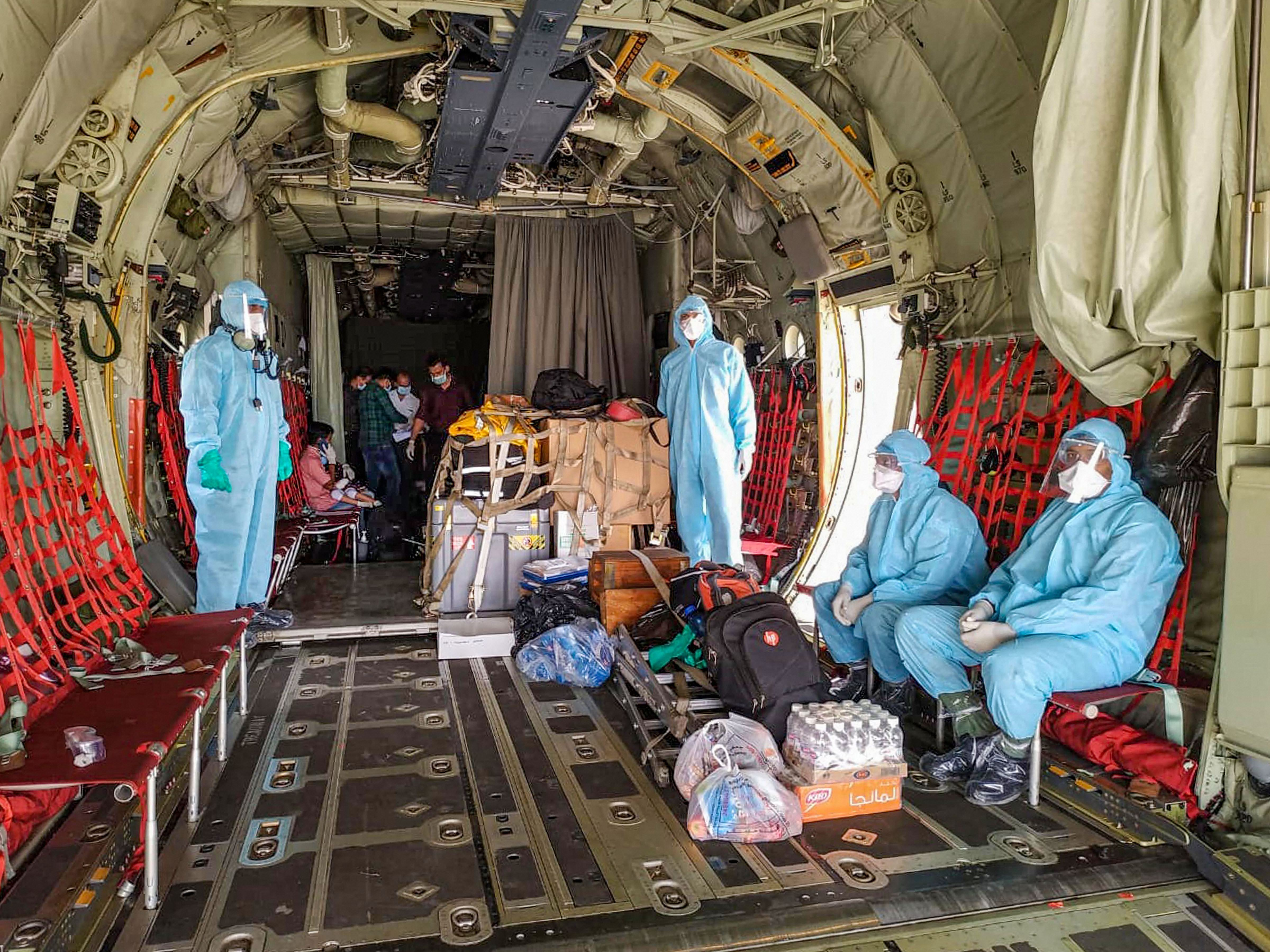 Indian Air Force (IAF) airlifts essential supplies of medicine and ration along with medical personnel within the country, to equip state governments and supporting agencies to combat the Covid-19 effectively, in NewDelhi