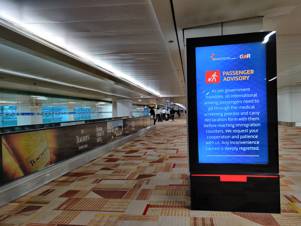 A travel advisory at Delhi airport in view of coronavirus before flight services were suspended.