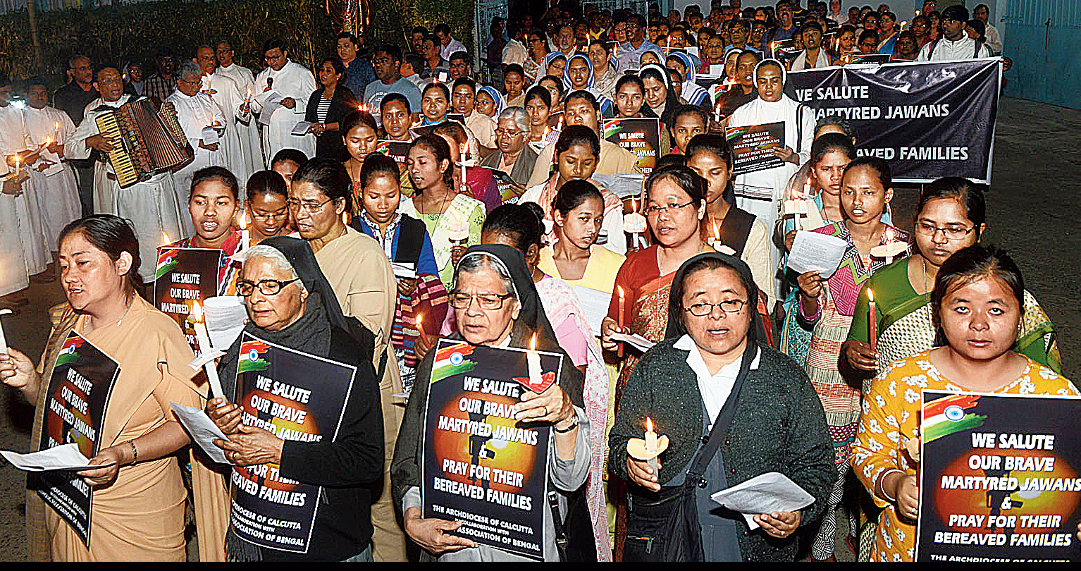 A peace rally by the Archdiocese of Calcutta on Monday to pay tribute to the CRPF troopers killed in the Pulwama attack on February 14