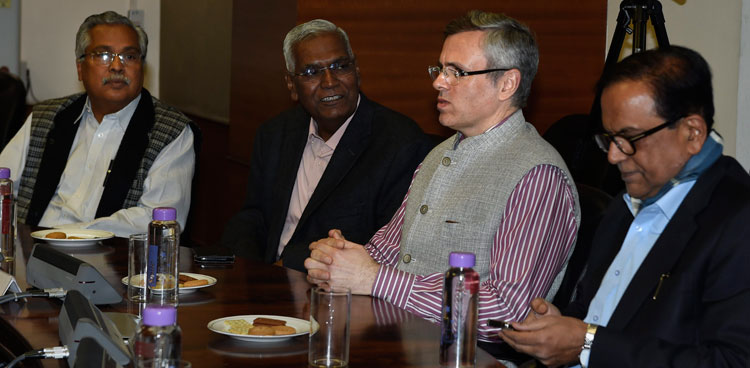 Omar Abdullah (second from right) during an all-party meeting in New Delhi on Tuesday