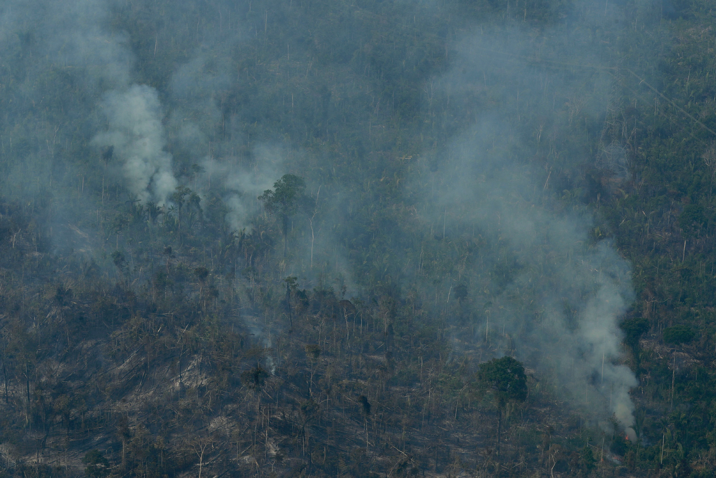 Fire consumes an area near Jaci Parana, state of Rondonia, Brazil, on August 24, 2019.