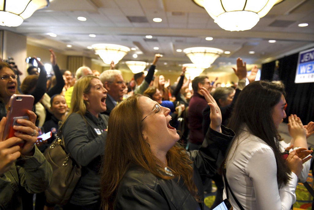 Stephanie Anderson screams as Virginia's 10th congressional district is called for Democrat Jennifer Wexton.