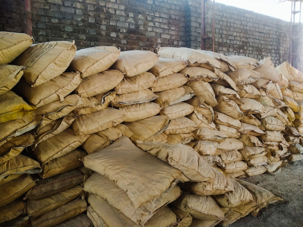 Cement bags at a factory