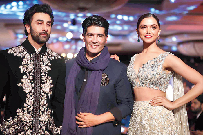 Manish Malhotra with Ranbir Kapoor and Deepika Padukone