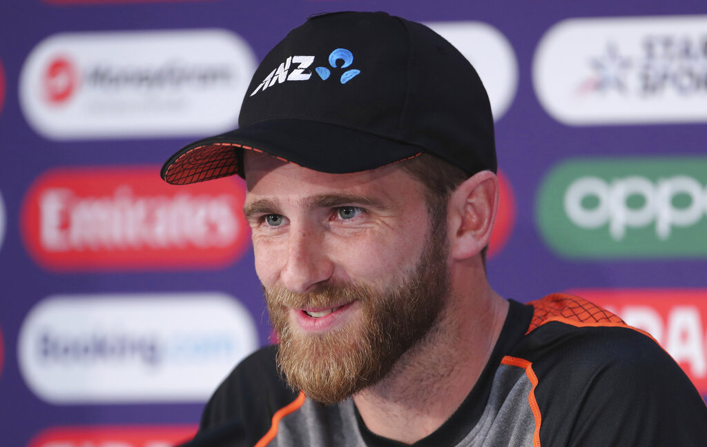 New Zealand's captain Kane Williamson speaks during a press conference after attending a training session ahead of the Cricket World Cup final match against England at Lord's cricket ground in London, England, Saturday, July 13, 2019.