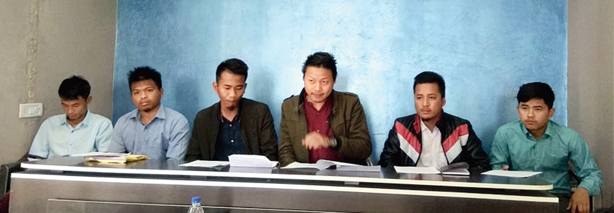 Members of Mizo Zirlai Pawl address the news conference in Kolasib on Saturday.