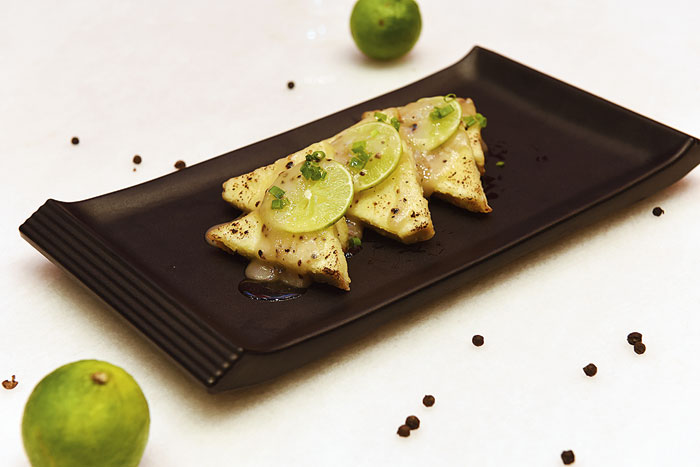 Peppery Lemon Paneer with tangy-spicy notes, makes for an ideal starter.  Rs 295
