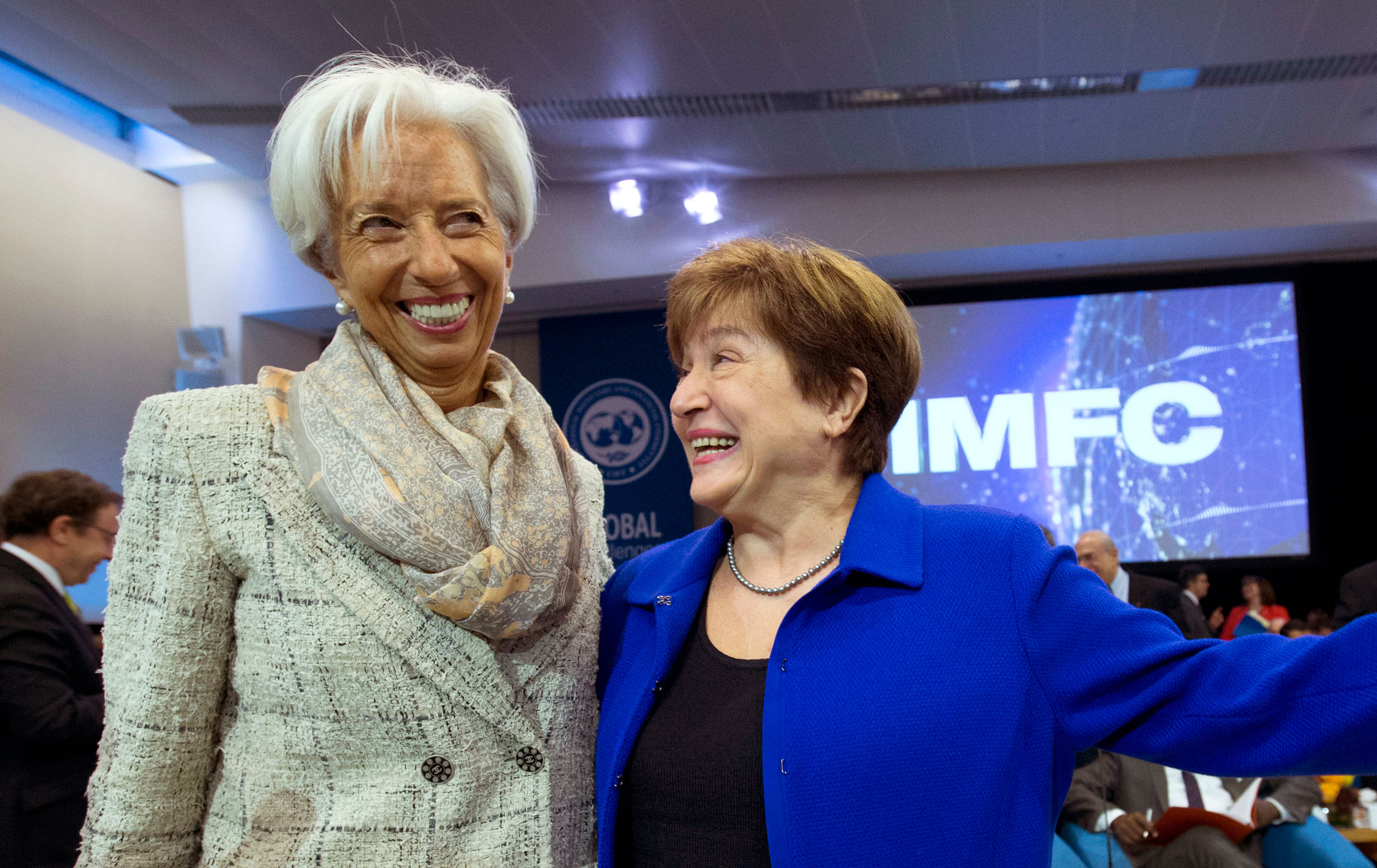Former IMF managing director Christine Lagarde (left) with Kristalina Georgieva in Washington on Saturday.