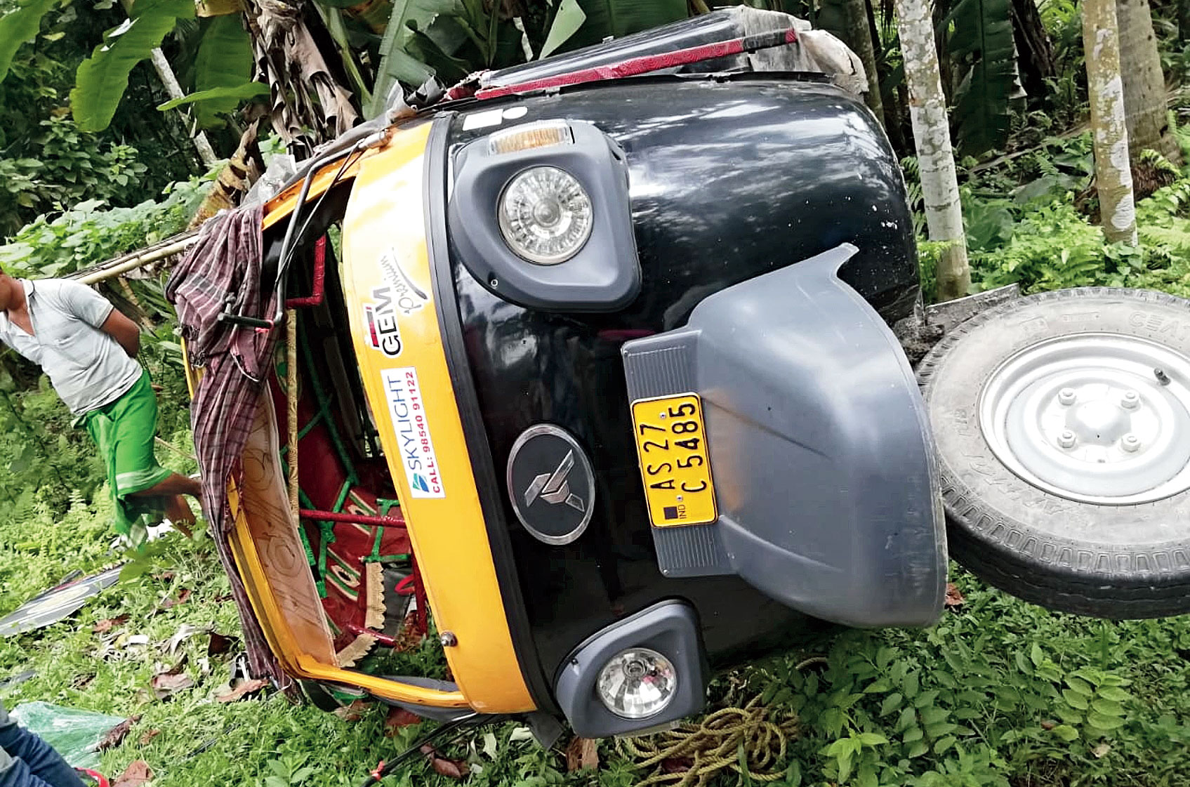 The auto which met with an accident in Udalguri district.