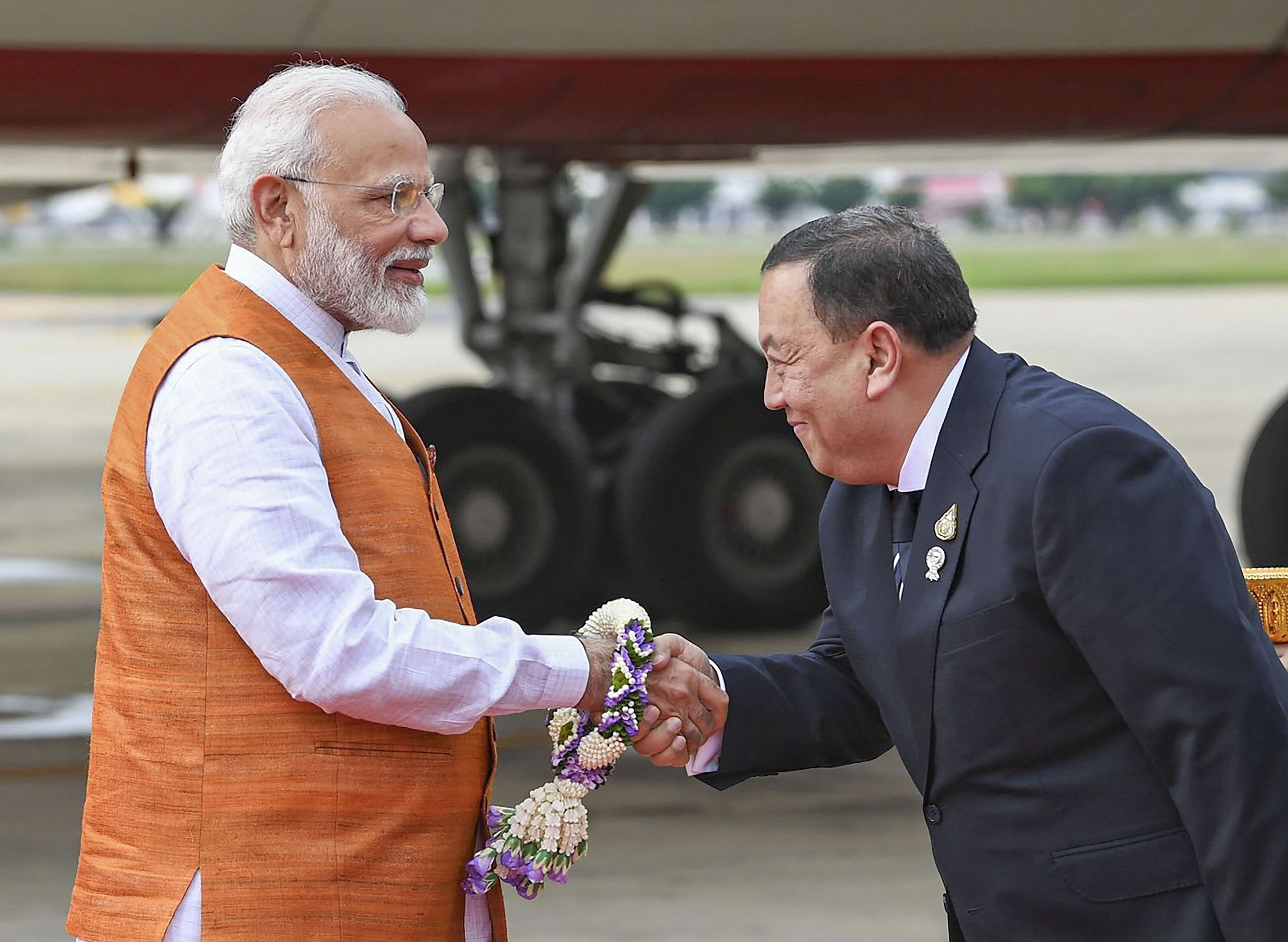 Prime Minister Narendra Modi being greeted on his arrival in Bangkok, Saturday, November 2, 2019.