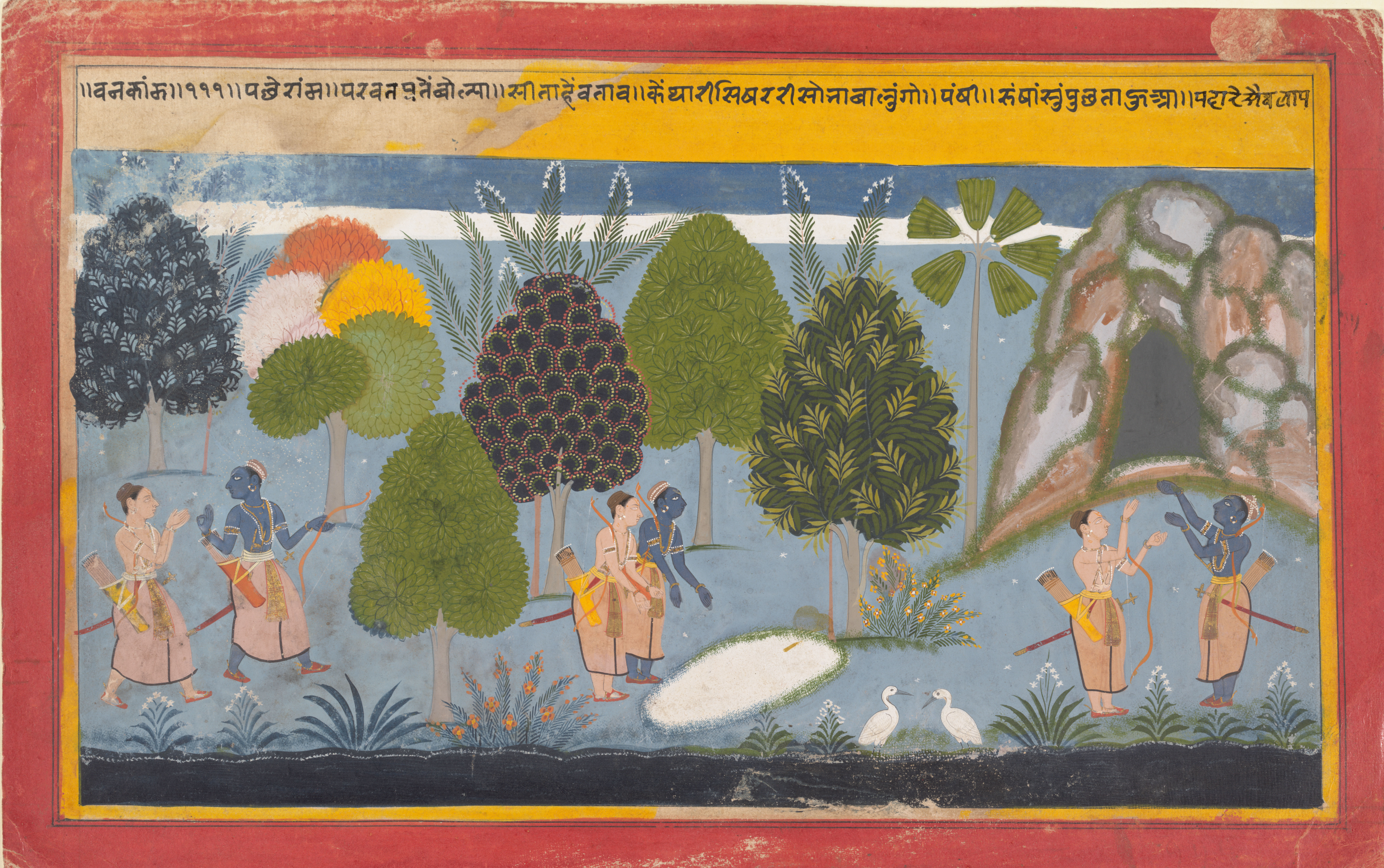 Rama and Lakshmana search in vain for Sita: An ink and opaque watercolour on paper from the Mewar region in Rajasthan, ca. 1680-90.