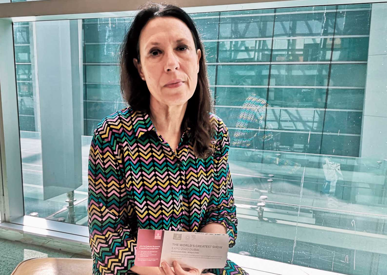 Debbie Abrahams at Delhi airport on Monday. This photograph was given to the Associated Press (AP) by Harpreet Upal, an aide accompanying the British MP