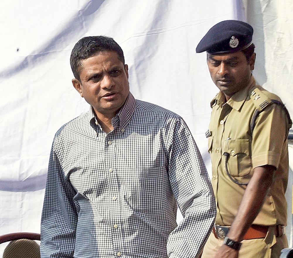 Rajeev Kumar near Mamata's dharna site on Tuesday.